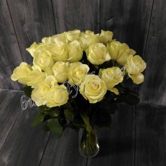 "Bouquet of 25 white roses ""Sincerity"""