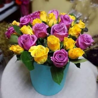 "Bouquet of mini roses in designer box ""Sun of Kenya"""