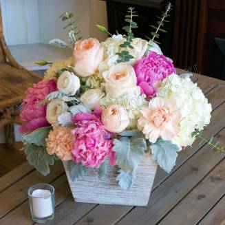 "Bouquet of peonies, hydrangeas, peony roses and dianthus in wooden box ""Morning in garden"""