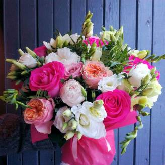 "Bouquet of peonies or peony roses, eustoma and matthiola ""Summer Night"""