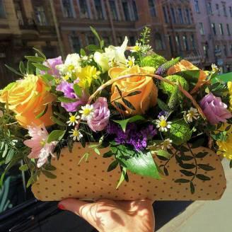 "Arrangement of seasonal flowers ""Handbag for a fashionista"""