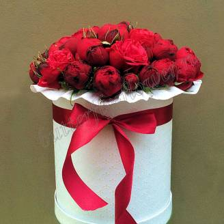 """Bouquet of red peony roses in the designer box """"Passion"""""""