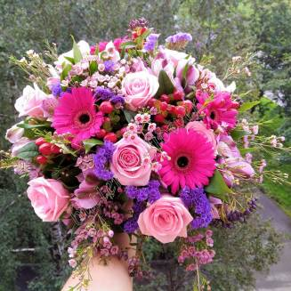 "Bouquet of gerberas, roses, alstromeries ""Enchanting"""