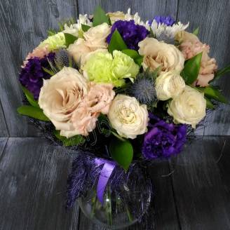 "Bouquet of roses, carnations and hyacinths ""Moonlit Night"""