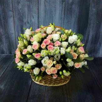 "Basket of eustoma, spray roses and eucalyptus ""Gentle angel"""