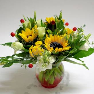 "Bouquet with sunflowers, chrysanthemum and eustoma ""Bright lawn"""