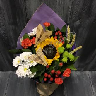 "Bouquet with a sunflower, carnation and chrysanthemum ""Beautiful day"""