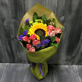 "Bouquet of sunflower and spray roses ""Hello, Autumn"""
