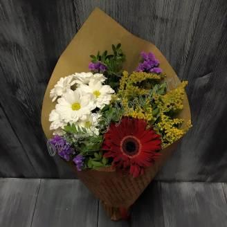 "Bouquet of chrysanthemum, statice and gerbera ""Crimson Autumn"""