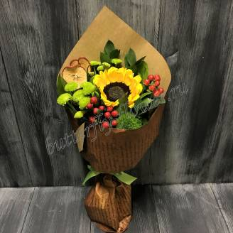 "Bouquet of flowers from sunflower, chrysanthemum and hypericum ""Little schoolboy"""