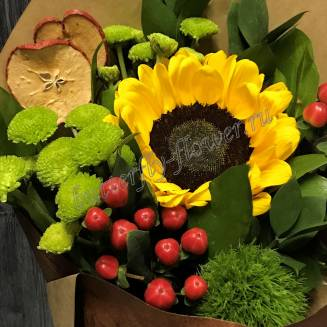"Bouquet of flowers from sunflower, chrysanthemum and hypericum ""Little schoolboy"""