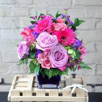 "Bouquet of roses, alstroemeria, gerberas and flowers ""Impromptu Floral"""