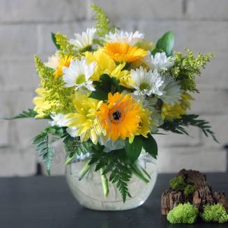 """Bouquet of gerberas, chrysanthemums and solidago """"Solar mood"""""""