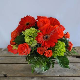 "Bouquet of roses and gerberas ""Lights of Madrid"""