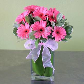 """Bouquet of gerberas and greenery """"Pink Panther"""""""