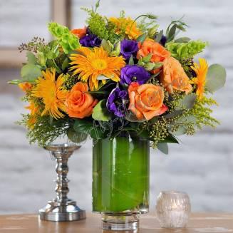 "Bouquet of gerberas, roses and eustoma ""Orange Crash"""