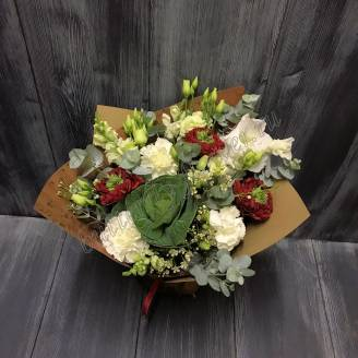 "Bouquet of peony roses, brassica, eustoma and carnations ""Garden of Miracles"""