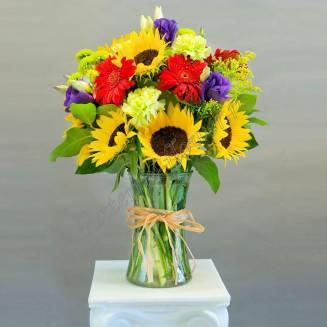 "Bouquet of sunflowers, eustomas and gerberas ""Autumn Marathon"""