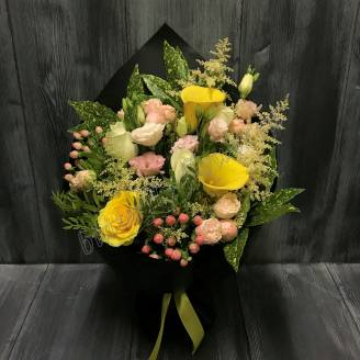 "Bouquet of callas, roses and lisianthus ""Versailles"""