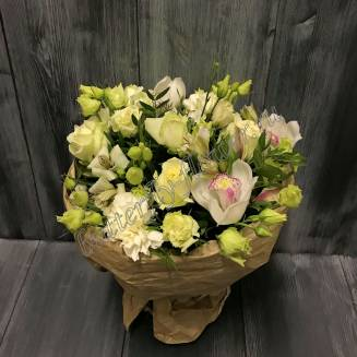 """Bouquet of orchids, eustoma, alstroemeria and roses """"Swan Lake"""""""