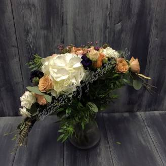 "Bouquet of hydrangea, chamelacium, scabiosis and peony rose ""Upper Light"""