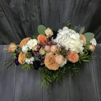 "Bouquet of hydrangea, chamelacium, scabiosis and peony rose ""Upper Light"""