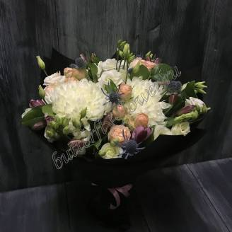 "Bouquet of peony roses, erignium and chrysanthemum ""Spring message"""