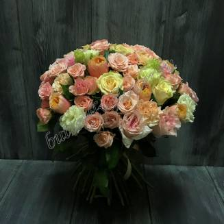 "Bouquet of peony roses, roses and eustoma ""50 first kisses"""