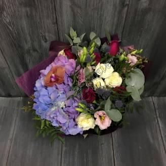 "Bouquet of hydrangea, erginium, lisianthus and roses ""Heart of Spring"""