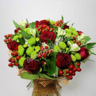 """Bouquet of red roses, alstroemeria, chrysanthemums and hypericum """"Harmony"""""""