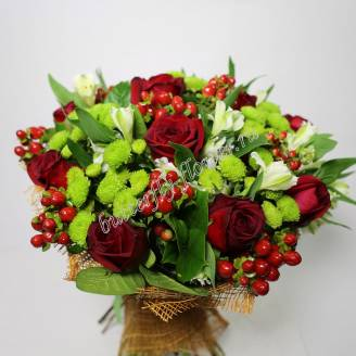 "Bouquet of red roses, alstroemeria, chrysanthemums and hypericum ""Harmony"""