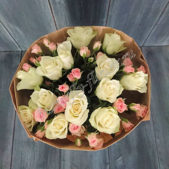 """Bouquet of white roses and spray roses """"The most tender"""""""