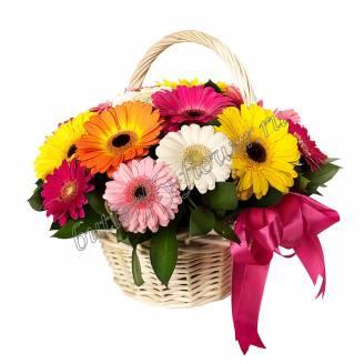 "Multi-colored gerberas in the basket ""Bright Glade"""