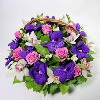 "Basket of roses, orchids and freesia ""Soul Strings"""