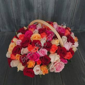 "Basket of 101 multi-colored roses ""Mosaic"""