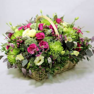 """Basket of eustomas, roses and chrysanthemums """"Morning in Venice"""""""