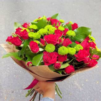 """Bouquet of roses and chrysanthemums """"Male"""""""