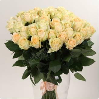"""Bouquet of 51 cream Russian roses 60cm """"Avalanche cream-51"""""""