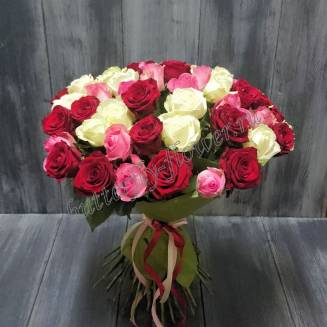 "Bouquet of 51 multicolored Russian roses 50cm in craft ""Mix 51"""