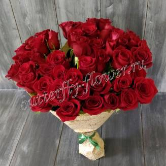 "Bouquet of 51 red Russian roses 50cm in craft ""Dance of Passion"""