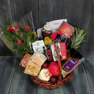"Gift basket with caviar, sausage, cheese, fruit, vegetables, tea, coffee, sweets and flowers ""House MD"""