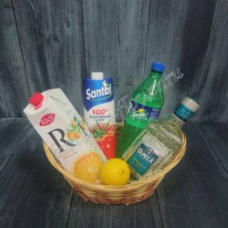 "Gift basket with juice, sprite, lemons and alcohol (tequila) as a gift ""Vacations in Mexico"""