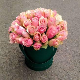 "Bouquet of flowers in designer box ""Pink Dawn"""