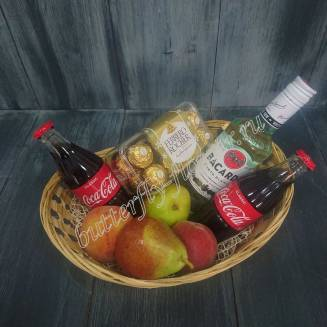 "Gift basket with fruits, sweets, Coca-Cola and alcohol (Bacardi Rum) as a gift ""Rum Cola"""
