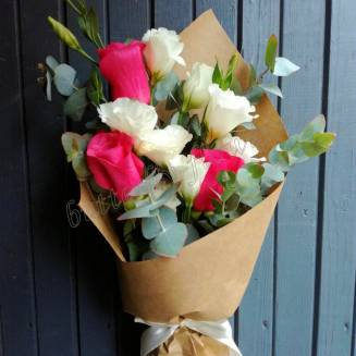 """Bouquet with roses, eustoma and eucalyptus """"Compliment"""""""