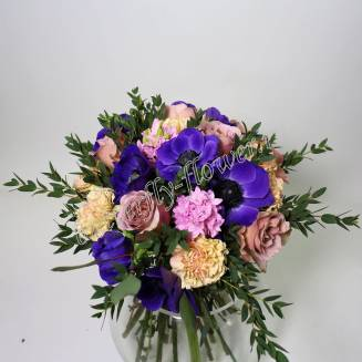 """Bouquet of roses, anemones, hyacinths and carnations """"Grace"""""""