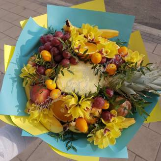 "Food bouquet of orchids, pineapple, grapes, bananas ""Berry No.614"""