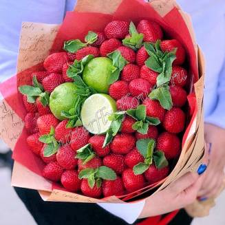 "Food bouquet of strawberries, lime and mint in the craft ""Strawberry Mojito"""