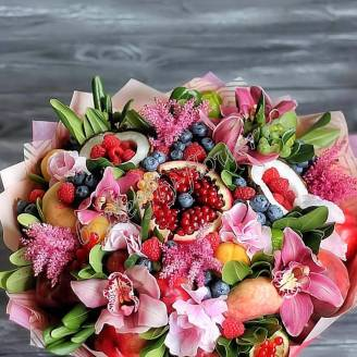 "Food bouquet of fruits, berries and flowers ""Pink Orchid"""