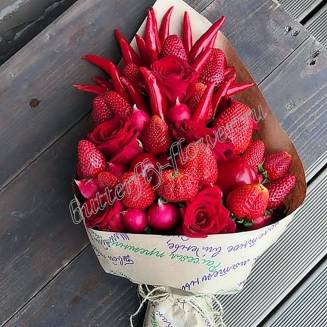 "Food bouquet of strawberries, vegetables and roses ""Peppercorn"""